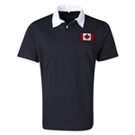 Canada Flag Retro Rugby Jersey (Black)