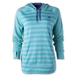 adidas Women's Ultimate Fleece Striped Hoodie (Neon Green)