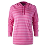 adidas Women's Ultimate Fleece Striped Hoody (Neon Pink)