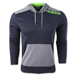 adidas Ultimate Fleece Pullover Hoody-Linear Logo (Gray/Green)