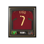 Luis Figo Signed and Framed Portugal Jersey