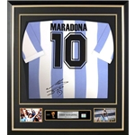 Diego Maradona Signed and Framed Argentina Home Jersey