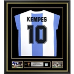 Mario Kempes Signed and Framed Argentina Jersey