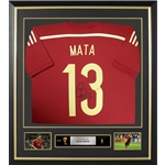 Juan Mata Signed and Framed Spain Jersey