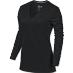 Nike Women's V-Neck Legend Long Sleeve T-Shirt (Black)