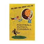 1958 FIFA World Cup Sweden Poster Bamboo Wood Print