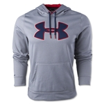Under Armour Fleece Storm Outline Big Logo Hoody (Gray/Red)