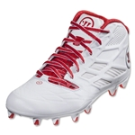 Warrior Burn 8.0 Mid Lacrosse Cleats (White/Red)