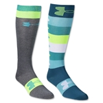 Under Armour Women's All Over Logo Over the Calf Sock (Aqua)