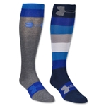 Under Armour Women's All Over Logo Over the Calf Sock (Nv/Sv)