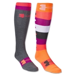 Under Armour Women's All Over Logo Over the Calf Sock (Or/Sv)