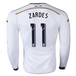 LA Galaxy 2015 ZARDES LS Authentic Home Soccer Jersey