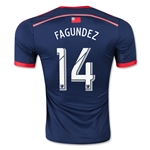 New England Revolution 2015 FAGUNDEZ Authentic Home Soccer Jersey