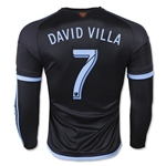 New York City FC 2015 DAVID VILLA LS Authentic Away Soccer Jersey