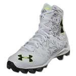 Under Armour LAX Highlight RM Junior Lacrosse Cleats (White/Metallic Silver)