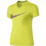 Nike Legend Girls Confetti Swoosh T-Shirt (Lime)