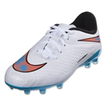 Nike Junior Hypervenom Phelon FG (White/Blue Lagoon/Total Crimson/Black)