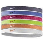 Nike Printed Headbands Assorted Six pack (Pink/Sv)
