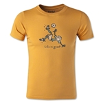 Life is Good Boys Bike Kick Soccer T-Shirt (Gold)