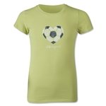 Life is Good Girls Soccer Heart Script T-Shirt (Lime)