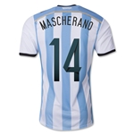 Argentina 2014 MASCHERANO Authentic Home Soccer Jersey