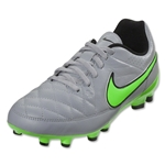 Nike Junior Tiempo Genio Leather FG (Wolf Gray/Green Strike)