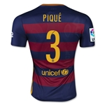 Barcelona 15/16 PIQUE Authentic Home Soccer Jersey