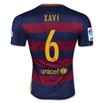 Barcelona 15/16 XAVI Authentic Home Soccer Jersey