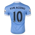 Manchester City 15/16 KUN AGUERO Authentic Home Soccer Jersey