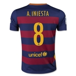Barcelona 15/16 A. INIESTA Youth Home Soccer Jersey