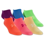 Under Armour Women's Neon No Show Sock-Six Pack (Multi)