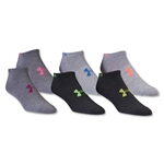Under Armour Women's Neon No Show Sock-Six Pack (Gray)