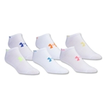 Under Armour Women's Neon No Show Sock-Six Pack (White)