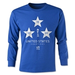 USA Women's World Cup Champions Youth LS T-Shirt (Royal)