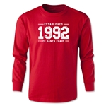FC Santa Claus Established 1992 Youth Long Sleeve T-Shirt (Red)