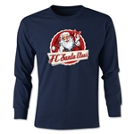 FC Santa Claus Animated Santa Youth Long Sleeve T-Shirt (Navy)