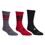 Under Armour I Will Crew II Sock 3 Pack (Red)