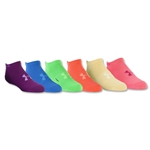 Under Armour Girls Solid 6 pack No-Show Sock (Multi)
