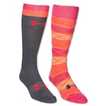 Under Armour Women's Argyle Over the Calf Sock (Neon Pink)