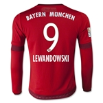 Bayern Munich 15/16 LEWANDOWSKI LS Youth Home Soccer Jersey