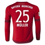 Bayern Munich 15/16 MULLER Youth LS Home Soccer Jersey