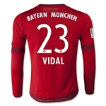 Bayern Munich 15/16 VIDAL Youth LS Home Soccer Jersey