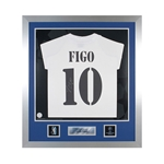 Official UEFA Champions League Luis Figo Signed and Framed Real Madrid 03/04 Jersey