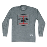 Objectivo Bethlehem Steel Crest Soccer Long Sleeve T-Shirt (Gray)