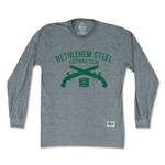 Objectivo Bethlehem Steel Crest Soccer Club Pistols Long Sleeve T-Shirt (Gray)