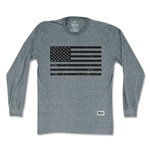 Objectivo American Black Flag Soccer Long Sleeve T-Shirt (Gray)