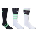 adidas Cushioned Assorted Color 3 Pack Crew Sock (Blk/Green)