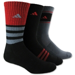 adidas Cushioned Assorted Color 3 Pack Crew Sock (Blk/Red)