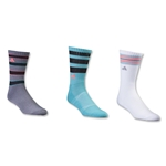 adidas Women's Retro II 3 Pack Crew Sock (Blue)