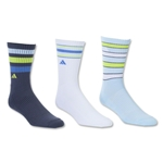 adidas Women's Retro II 3 Pack Crew Sock (Navy)